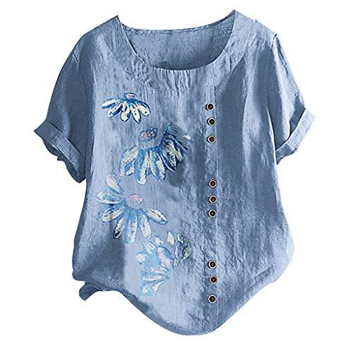 TAMALLU Damen Baumwolle Tunika Sommer O-Ausschnitt Elegant Taste Beiläufig Oberseiten(Blau,3XL)