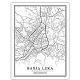 Bosnien-Herzegowina Schwarz Weiß Welt Stadtplan Poster Nordic Wohnzimmer Sarajevo Wandkunst Bilder Wohnkultur Leinwand Malerei 32X40 inch (80X100 Cm)