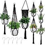 Macrame Hanging Planter, Set of 5 Plant Hanger Baskets, Handmade Flower Pot Holder for Home Indoor Outdoor Decor with 5 Pcs Ceiling Hooks(Black)