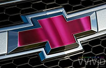 VVIVID Pink Magenta Chrome Auto Emblem Vinyl Wrap Overlay Cut-Your-Own Decal For Chevy Bowtie Grill, Rear Logo Diy Easy To Install 11.80 Inches x 4 Inches Sheets (x2)