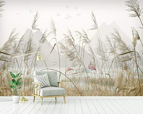 3D vliesbehang foto vlies premium fotobehang behang hoofddecoratie wandschilderijen modern eenvoudige riet landschap tv-achtergrond wandschilderijen 3D wallpaper 400*280 400 x 280 cm.