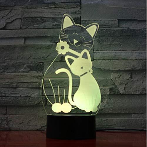 Flash Mignon Lampe De Chat 7 Couleurs Changeantes Veilleuse Atmosphère Lumière 3D Kitty Mood Touch Lampe Home Decor