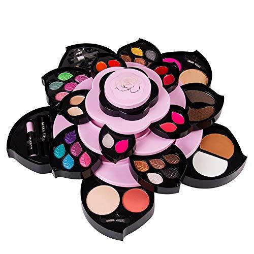 Kit de maquillage haut de gamme - Coffret de maquillage de voyage, kit de maquillage de style Lotus, Coffret de maquillage rotatif avec conteneur, cadeau idéal pour fille ou petite amie