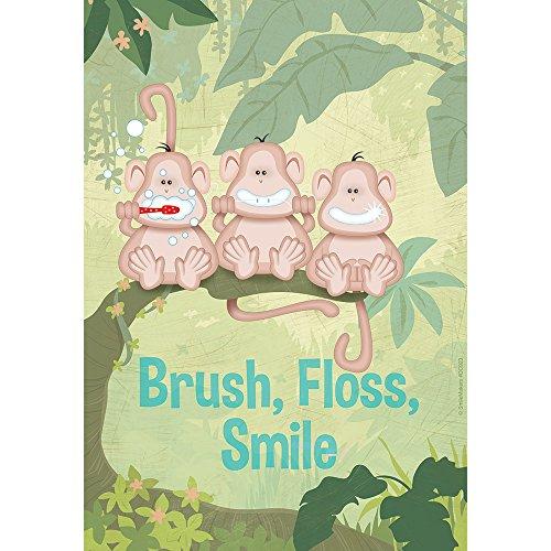 SmileMakers Brush,Floss,Smile Monkeys Poster - Dental Office Decor - 1 per Pack