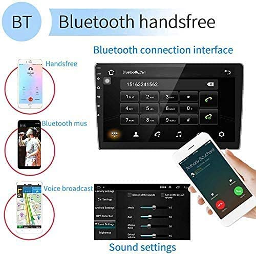 10.1Inch 2.5D HD Double Din Car Stereo Radio Receiver, Android Touch Screen MP5 Multimedia, Support GPS Navigation Bluetooth FM Radio+4 Led Lights Rear View Camera&Dual Mirror Link