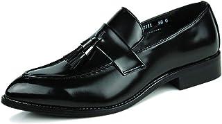 パテントレザー 男性の快適なファッションカジュアルタッセルロープオックスフォードシューズローファーPUレザーホットウェディングナイトクラブ尖ったパテントレザーの靴 フォーマルドレス ドレスシューズ (Color : ブラック, サイズ : 24 CM)