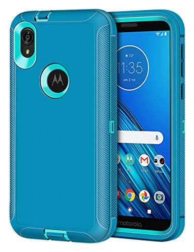 Jelanry Moto E6 Case, Heavy Duty Armor Dual Layer Full Body Protective Shell Shockproof Rugged Anti-Scratches Cover Non-Slip Bumper Only Compatible with Motorola Moto E6 2019 Mint/Grenn