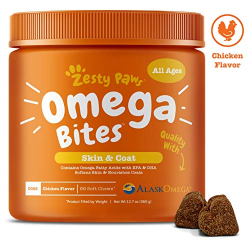 Omega 3 Dog Treats - With Alaskan Fish Oil & Vitamins for Dogs - Grain Free Soft Chews with Omegas for Itchy Skin & Shedding Coat - Supports Hips & Joints + Immune System for Canine Pets - 10 Count