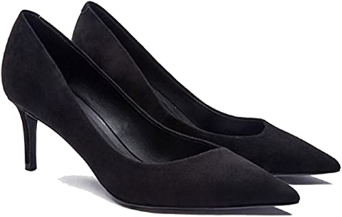 Chaussures Pour Femmes noir Lambs Leather Scrubs Les Les Les dames Court chaussures Sexy Tips Fine Heels Chaussures Professionnelles,noir-6.5cm-EU 35 UK 3