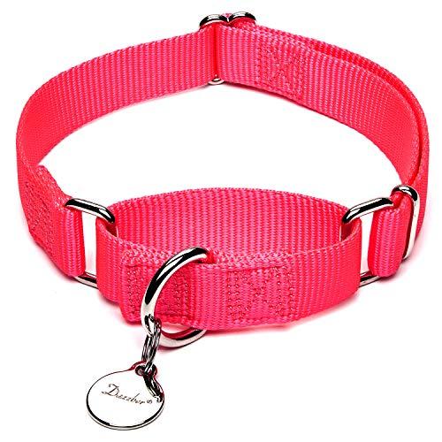 Dazzber Martingal Halsbänder für Hunde, Verstellbar Langlebig Kein Escape Stop Ziehen Hundehalsband Nylon für Große/Mittlere/Kleine Hunde (XS(20cm-30cm), Leuchtend Rosa)