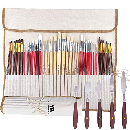 WA Portman 38pc Artist Paint Brush Set and Painting Knives for Acrylic Watercolor Gouache Oil Face Body Painting - Assorted Synthetic Paint Brushes with 5 pc Palette Knife Set in Canvas Travel Case