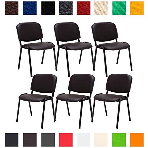 CLP 6X Konferenzstuhl Ken mit Stoffbezug oder Kunstlederbezug I 6 x Stapelstuhl mit robustem Metallgestell I erhältlich Kunstlederbezug: Braun