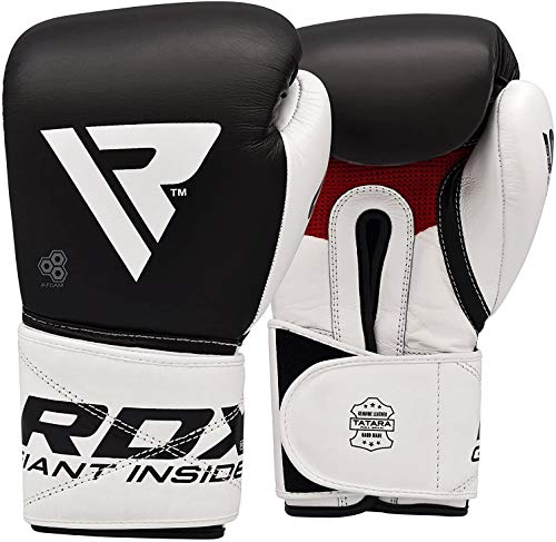 RDX Boxing Gloves for Training Muay Thai Cowhide Leather Mitts for Kickboxing, Sparring Fighting Great for Heavy Punch Bag, Speed Ball, Grappling Dummy and Focus Pads Punching