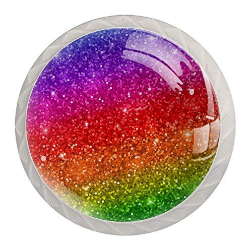 Möbelgriff Glitzernder Regenbogen Möbelknopf Kristall Schubladenknopf Runden Schubladengriff Plastik Knopf Griff Für Schränke Kommode Dresser 4 Stück 3.5×2.8CM