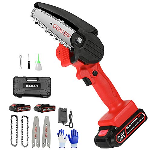 Mini Electric Chainsaw Cordless 4inch Rechargeable Handheld Chainsaw 24v Battery Operated with 2pcs Batteries and Chains Portable Small Power Chain Saw for Tree Branch Pruning and Wood Cutting,red