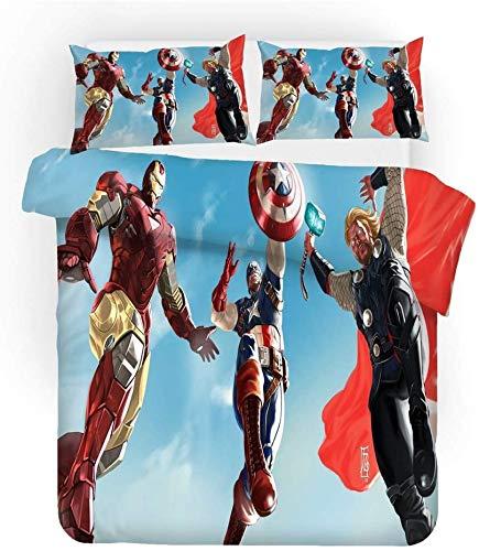 Avengers Juego de ropa de cama Superhero Iron Man Marvel Funda nórdica 135 x 200 80 x 80, 100% microfibra, ropa de cama infantil para niñas y niños (Iron Man-3, 220 x 240 cm + 50 x 75 cm x 2)