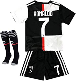 MPCXT New Season Juventus Home #7 Cristiano Ronaldo 2019/2020 Kids/Youths Soccer Jersey/Shorts/Socks Colour Black/White