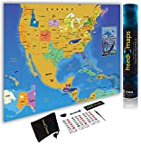 USA Canada Mexico Premium Quality Scratch Off Map Travel Poster - 24x17' - Unique Traveler Gift - Track USA and North America Adventure - Country Flags - State National Parks Landmarks + Accessory Set