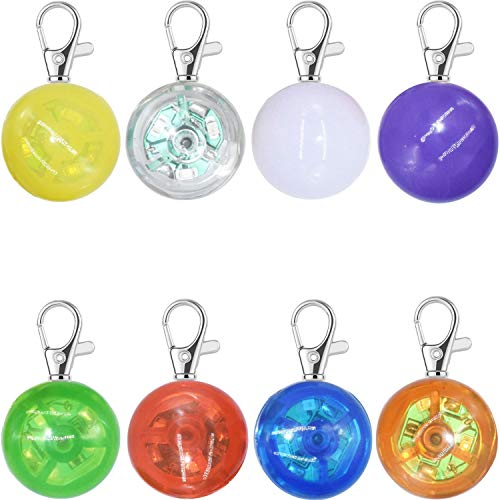 8 Packs Dog Collar Light, LED Pet Cat Collar Charm Lights for Dogs at Night Walking, Safety Harness Leash Necklace Clip on Dog Lights for Large Medium Small Dogs Camping Accessories (Multicolor)