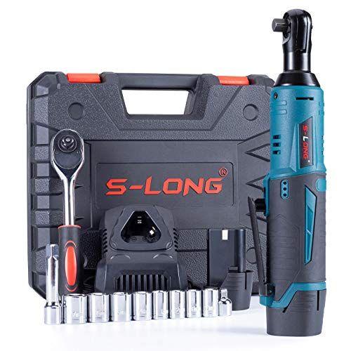 S-LONG Cordless Electric Ratchet Wrench Set, 3/8' 400 RPM 12V Power Ratchet Driver with 10 Sockets, 2000mAh Lithium-Ion Battery and 60-Min Fast Charge