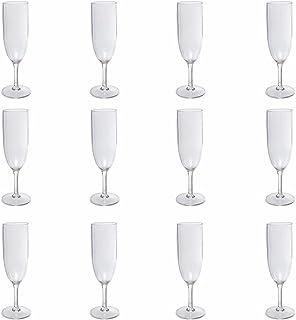 Nordiska Plast Lot de 12 flûtes à champagne réutilisables transparents en plastique noble, sans BPA, fabriqué en Suède, 17...