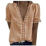 Blusa de verano para mujer, blusa corta, cuello en V, sexy, túnica de encaje beige XL