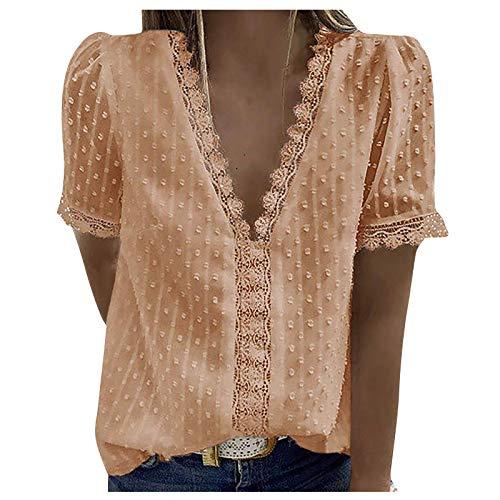 Damenmode Spitze Kurzarm Casual T-Shirt V-Ausschnitt Solid Color Top,Damen Sommer T-Shirt Basic Kurzarm Tops V-Ausschnitt Lockere (Beige:XXL)
