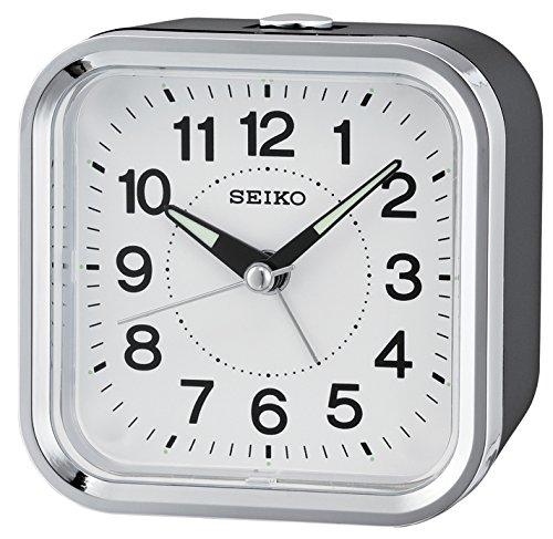Seiko Wecker schwarz Kunststoff Schleichende Sekunde QHE130K