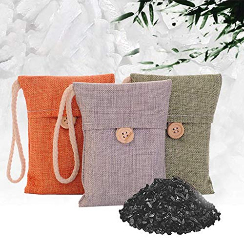 Best Price DAMEING 10Pcs Bamboo Charcoal Air Purifying Bags, Natural Activated Charcoal Eliminator O...