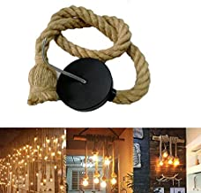 E27 Hemp Rope Cord Base Electric Wire DIY Country Retro Industrial Ceiling Light Chandelier Pendant Holder for Living Room Restaurant (Not Included Bulb)(one bulb holder) (Line length 1.5m single head)