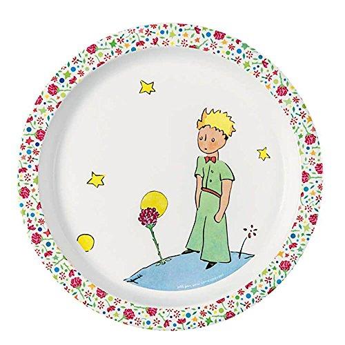 Petit Jour Paris Le Petit Prince Assiette rose en mélamine 21 cm – Assiette pour enfant en mélamine Assiette bébé en plastique Vaisselle enfant multicolore sans BPA