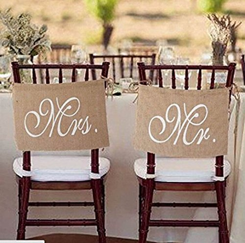 Borang Mr. & Mrs Burlap Chair Banner Set Bride & Groom Chair Signs for Wedding Decorations, Engagement Party Supplies