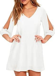 Best white chiffon shift dress Reviews