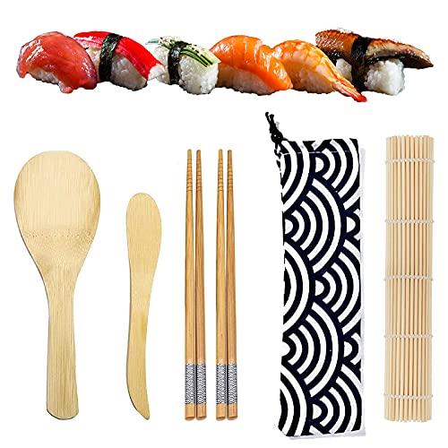 NHHEO Kit per Fare Sushi in bambù, Kit Sushi Fai Da Te,Tappetino per Arrotolare Il Sushi, Include 2 Paia di Bacchette, 1 Tappetini in bambù, 1 Spatola per Riso, 1 Paletta, 1 Sacco