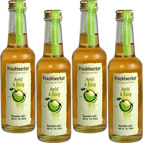 Fruchtwerker | Apfel& Essig | Mit Saft aus echten Früchten| 4er Pack | 4x 250ml Glasflasche