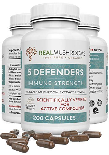 5 Defenders Mushroom Extract Blend by Real Mushrooms - Chaga, Reishi, Shiitake, Maitake and Turkey Tail Mushroom Powder - Organic Immune Defense Perfect for Smoothies, Coffee and Tea (200 Capsules)