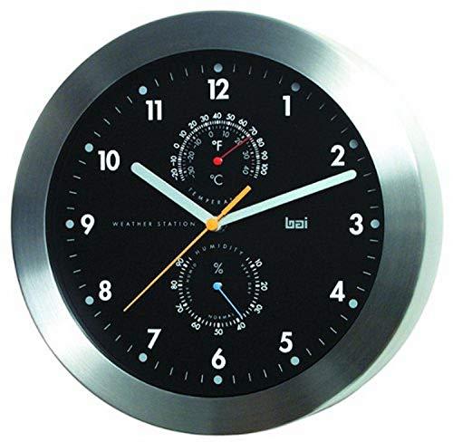 BAI Brushed Aluminum Weather Station Wall Clock, Black