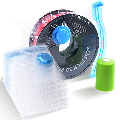 GEEETECH Sacchetti Sottovuoto di conservazione ermetici 4 pezzi (2 x grandi, 2 x piccoli) per stampante 3D Sacchetto sigillato con bobina di filamento PLA / ABS / PETG / TPU, pompa a mano inclusa