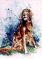 十代の若者たちのための数字で描く数字で描くキットブラシとアクリル顔料を使ったアイリッシュセッター犬大人のためのDIYキャンバス絵画初心者の静物