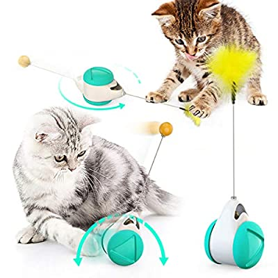 BLUK Interactive Cat Toys Cat Feather Toys for Indoor Cats,Cat Balance Swing Car Cat Chase Toys,Self Rotating Ball Roller Catnip Pet Toy for Kitten Kitty Entertainment Hunting Exercise,Blue