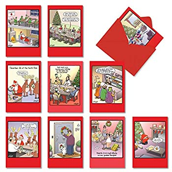 NobleWorks - 10 Assorted Funny Cards for Christmas - Adult Cartoon Humor Boxed Happy Holiday Notecards with Envelopes - Traces of Nuts A1250