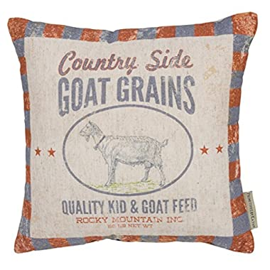 Primitives by Kathy Vintage Feed Sack Style Country Side Goat Grains Throw Pillow, 12-Inch Square