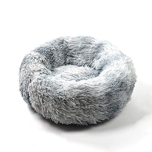 Cat Beds for Indoor Cats, Donut Cuddler Dog Bed Comfy Fluffy Washable Calming Cat Beds, Dog Bed for Small Dogs Up to 22 lbs (24''x24'', Tie Dyed-Grey)