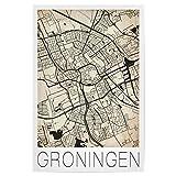 artboxONE Poster 60x40 cm Reise Retro Map of Groningen