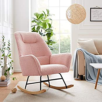 Tribesigns Solid Wood Rocking Chair Armchair Modern Accent Chair Single Sofa Chair Upholstered Microfiber Lamb Wool Nap Chair for Nursery Living Room Bedroom Office Small Space  Pink