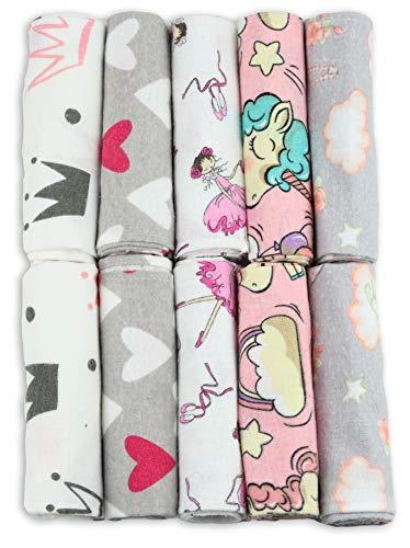 Paños para vómitos para bebé, 10 unidades, 50 x 35 cm, 100 % franela de algodón, color rosa, fabricado según norma Ökotex Standard 100, paño de muletón, paños para vómitos para niñas
