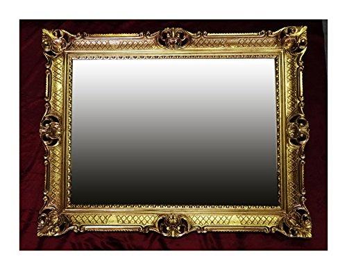 Lnxp WANDSPIEGEL BAROCKSPIEGEL Spiegel IN Gold 90x70 cm ANTIK BAROCK Rokoko Shabby CHIC Renaissance JUGENDSTIL Retro Design MIT ORNAMENTVERZIEHRUNGEN LUXURIÖS PRUNKVOLL