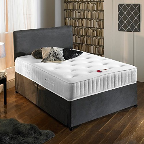 Sleep Factory Ltd New Charcoal Grey Luxury Suede Divan Bed Set With Orthopaedic Tufted Mattress With 2 Free Drawers & FREE Headboard King Size 5FT