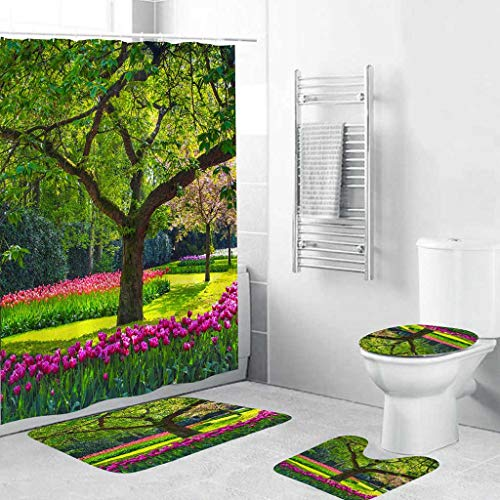 Lemoning Bathroom Organizers and Storage, 4Pcs Non Slip Toilet Polyester Cover Mat Set Bathroom Shower Curtain