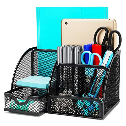 Desk Organizer Wellerly Office Supplies Desk Organization Accessories Pen Holder Organizers Set MultiFunctional Mesh Storage Caddy with 6 Compartments  1 Drawer for Office School Home Supply